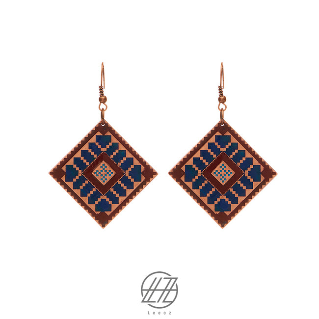 Handcrafted Enameled Copper Earring Inspired by Traditional Baloch's Embroidery