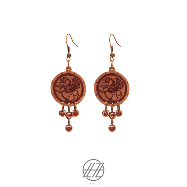 Handcrafted Enameled Copper Earring Inspired by Ancient Persian Myth