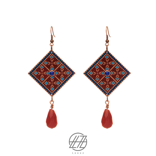 Handcrafted Enameled Copper Earring Inspired by Traditional Baloch's embroidery with Red Opal