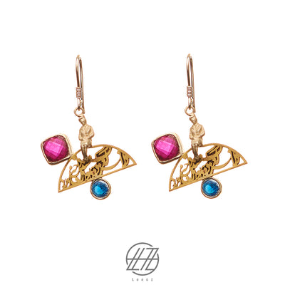 Handmade Brass, Ruby, and Sapphire Earring