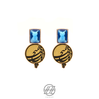 Handmade Brass and Sapphire Persian Calligraphy Hich Earring