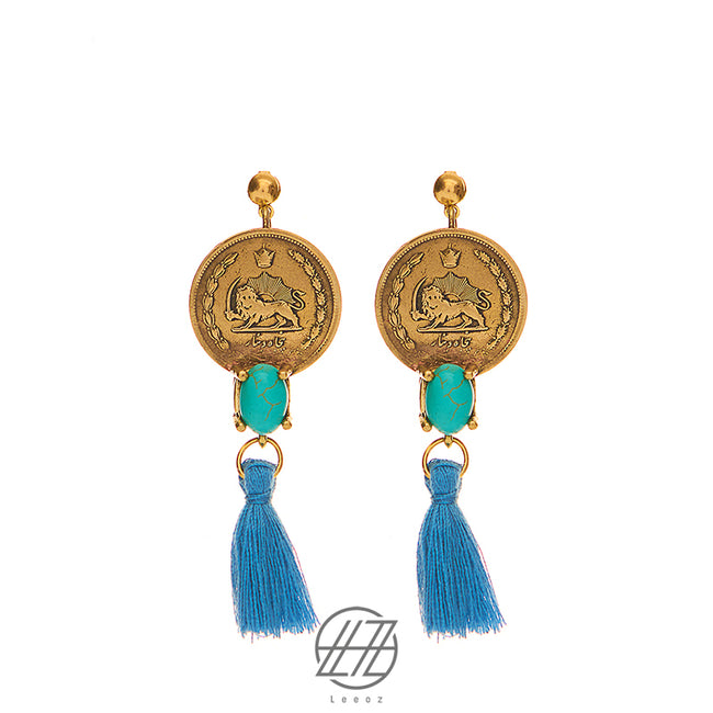 Vintage Pahlavi Silver Coin with Indian Turquoise and Blue Tassel Earring