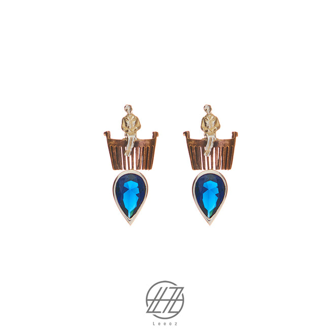 Handmade Silver and Brass Earring With Sapphire Stone