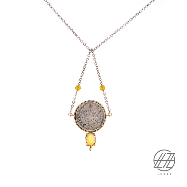 Handmade Silver and Brass Pahlavi Coin, Yellow Opal Necklace