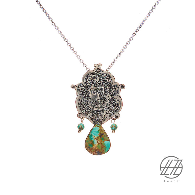 Handmade Etched Silver, Persian Turquoise Necklace