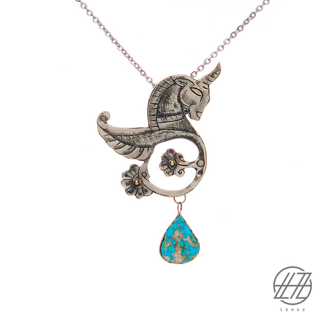 Handmade Etched Silver, Persian Turquoise, Hakhamanesh Horse Necklace