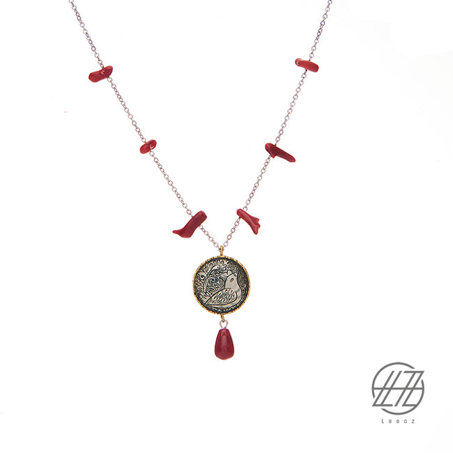 Handmade Etched Silver, Red Coral  Stone,  Necklace