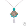 Handmade Vintage Pahlavi Silver Coin with Turquoise Stone and White Tassel Necklace