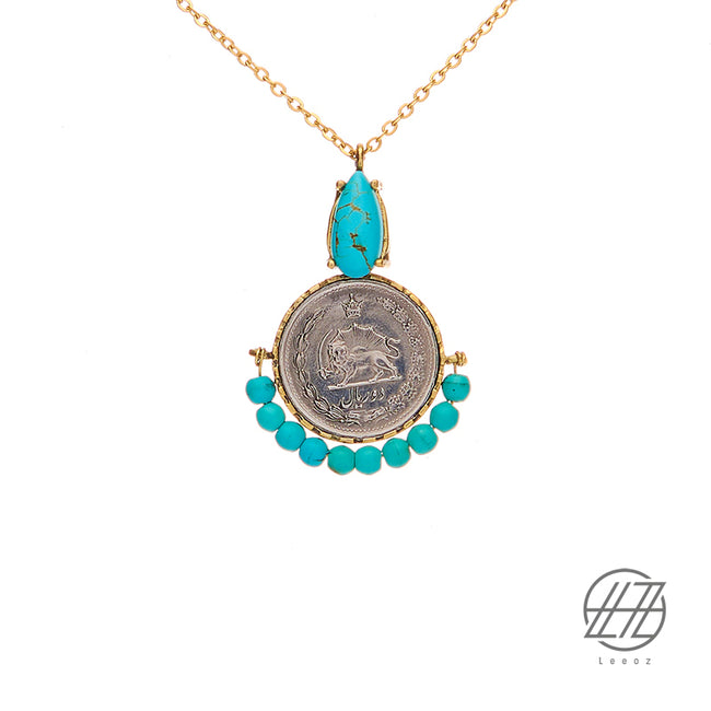 Handmade Vintage Pahlavi Silver Coin with Turquoise and Steel Chain Necklace