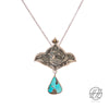 Handmade Etched Silver, Persian Turquoise,  Necklace