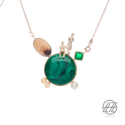 Handmade Silver, Agate ,Malachite , and Pearl Necklace