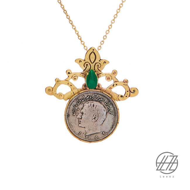 Handmade Vintage Pahlavi Silver Coin, Jade and Turquoise Stone with Brass Design and Steel Chain Necklace