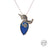 Handmade Etched Silver and Natural Lapis Lazuli Stone with Steel Chain Necklace