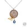 Vintage Pahlavi Silver Coin with Blue Cultured Pearl and Brass Butterfly Necklace