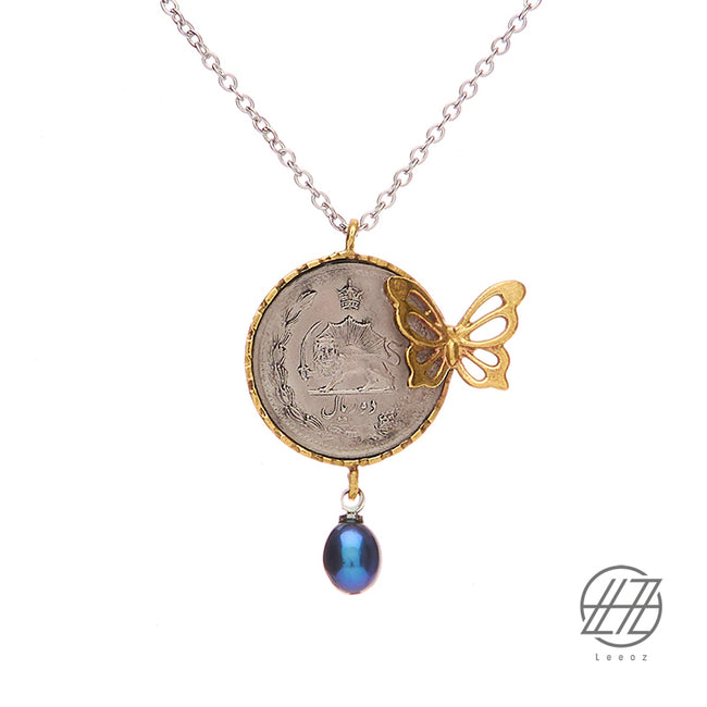 Vintage Pahlavi Silver Coin with Cultured Blue Pearl and Brass Butterfly Necklace