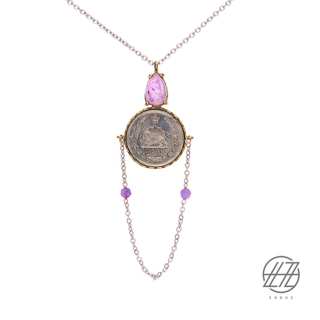 Handmade Vintage Pahlavi Silver Coin, Amethyst Stone with Steel Chain Necklace