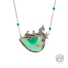 Handmade Etched Silver, Natural  Green Agate Stone with Steel Chain Necklace