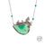 Handmade Etched Silver, NaturalGreen Agate Stone with Steel Chain Necklace
