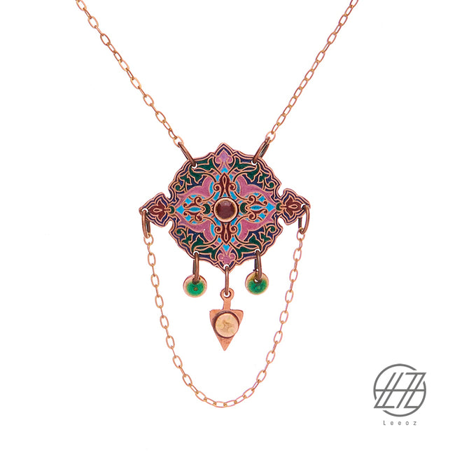 Handcrafted Enameled Copper Necklace Inspired by Islamic Geometric Pattern