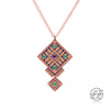 Handcrafted Enameled Copper Necklace Inspired by Traditional Baloch's Embroidery