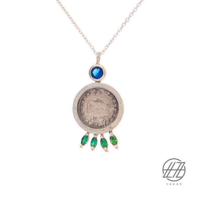 Vintage Pahlavi Silver Coin with Topaz and Emerald Necklace