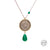 Handmade Vintage Pahlavi Silver Coin with Jade Stone and Steel Chain Necklace