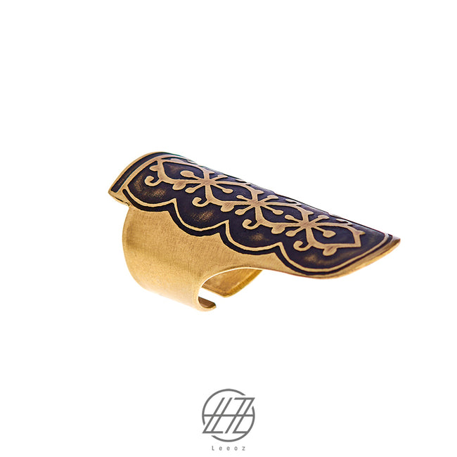 Handmade Etched Brass, The Golden Hint Ring