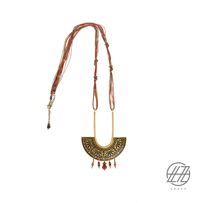 Handmade Etched Brass, Jade Stone and Waxed Leather Strip , Shiny Icon Necklace