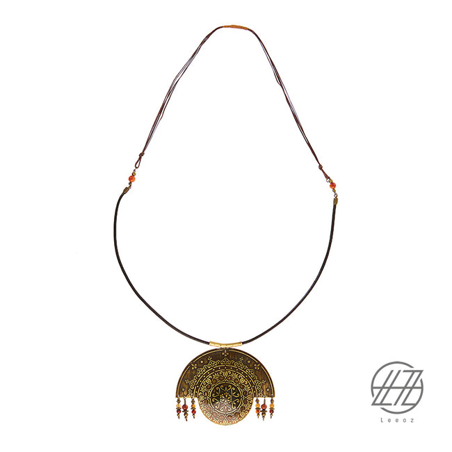Handmade Etched Brass, Jade and Agate Stone, Leather strip and Waxed Leather Strip, Talisman Necklace