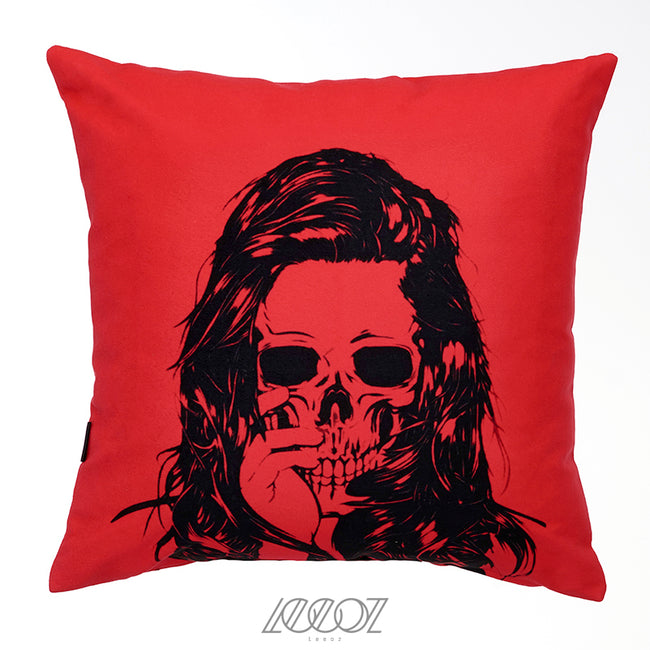 Red and Black Mexican Skull velvet decorative Pillow Cover