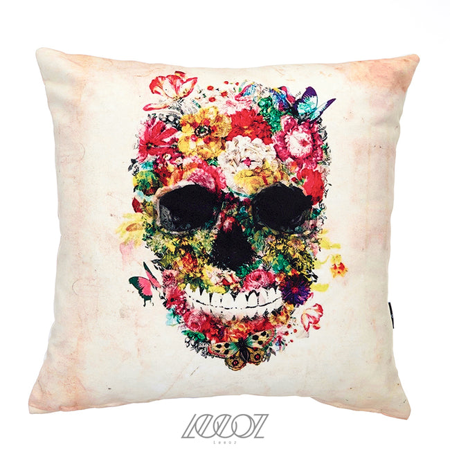 Skulls and Floral Blooms, Velvet decorative square Pillow Cover
