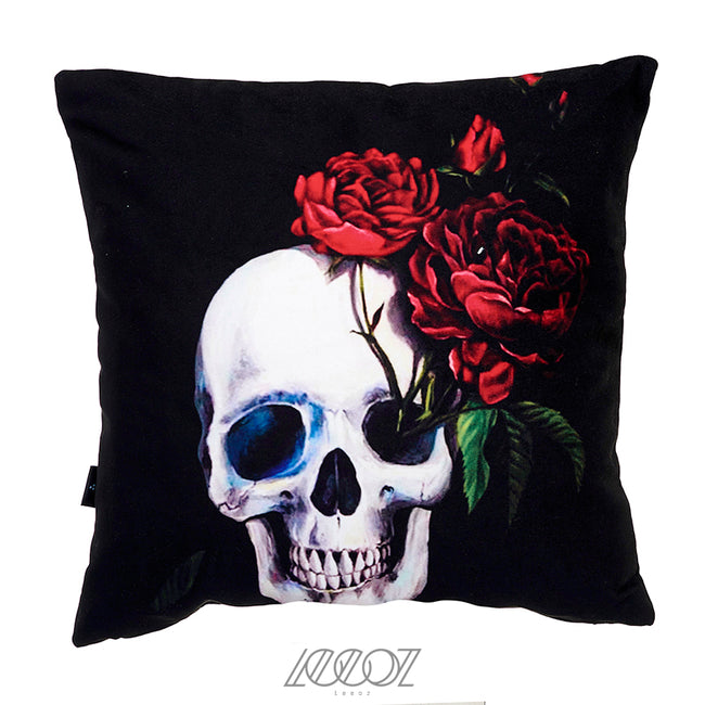 Mexican Skull with flower velvet decorative Pillow Cover