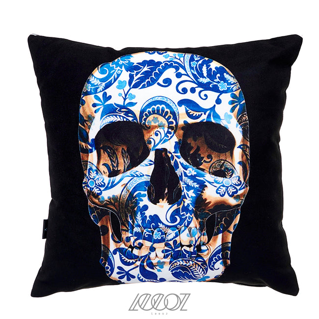 Blue and Black Mexican Skull velvet soft decorative square Pillow Cover
