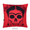 Black and Red Frida velvet decorative Pillow Cover