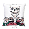 Floral Custom Skull Velvet Halloween Decorative Pillow Cover