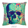 Monochrome Skull Velvet Decorative Pillow Cover
