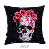 Sugar Skull Roses Velvet Decorative Pillow Cover