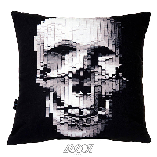 Black and White Monochrome Skull Decorative Pillow Cover