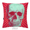 Red Background Sugar Skull Soft Velvet Decorative Pillow Cover