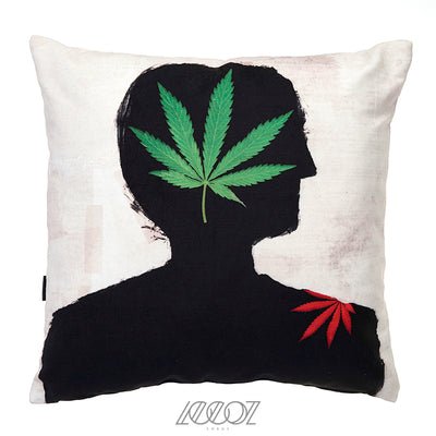 Cannabis Leaf Velvet Decorative Cushion