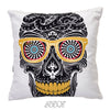 Sugar Skull With Cool Print  Velvet Decorative Pillow Cover