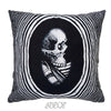 Black and White Mexican Skull Velvet Decorative Pillow Cover