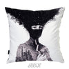 Modern Black and White Nature and Human Velvet Decorative Pillow Cover