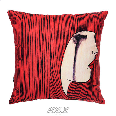Crying Girl Face Velvet Decorative Pillow Cover