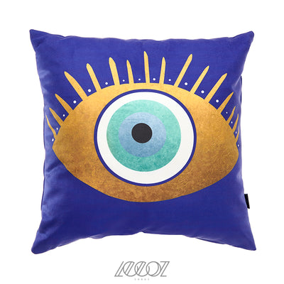 Blue and Gold Evil Eye Velvet Decorative Pillow Cover