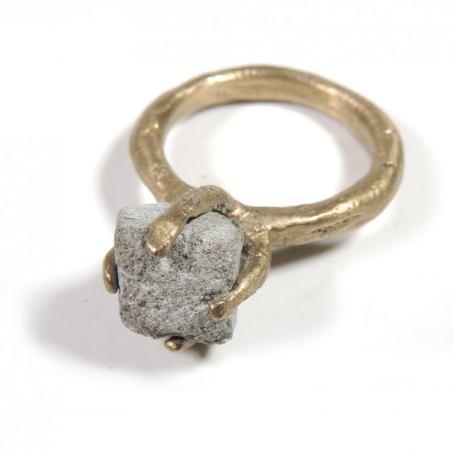 Solid Bronze Solitaire Ring with Serene Stone