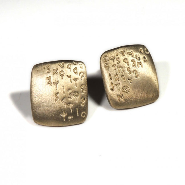 Cufflinks in solid bronze engraved with the Etruscan alphabet From Italy