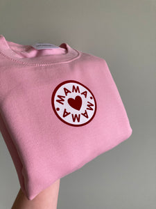 Baby Pink/Red MAMA SWEATSHIRT