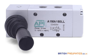 "API A1MA150LL Lever Valve 1/8"" (Automatic Spring Return) - British Pneumatics"