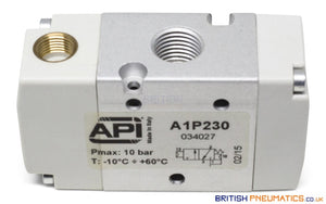 "API A1P230 Pneumatic Valve 1/4"" 3/2 Normally Closed (Pneumatically Operated) - British Pneumatics (Online Wholesale)"